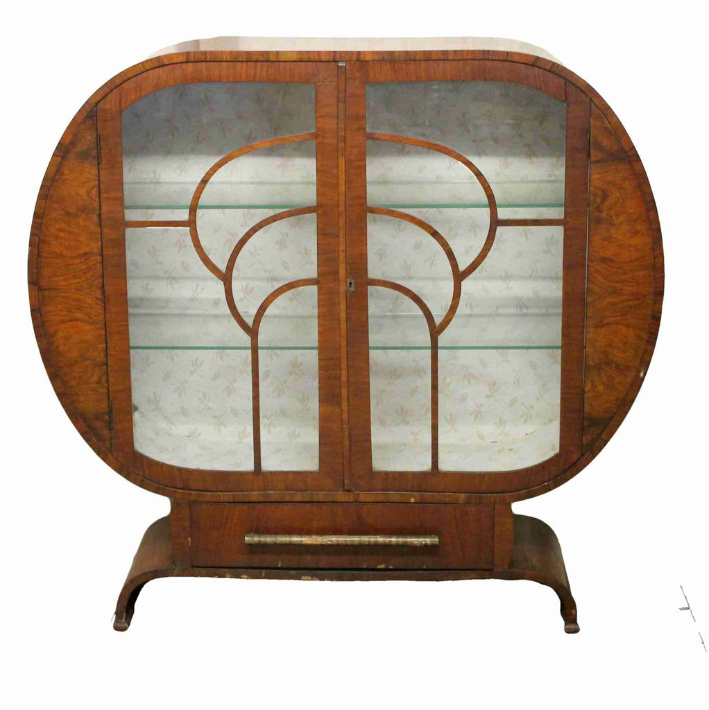 Art Deco Style Glazed Display Cabinet-Origin Antiques