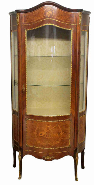 Bow Front Glazed Display Cabinet-Origin Antiques