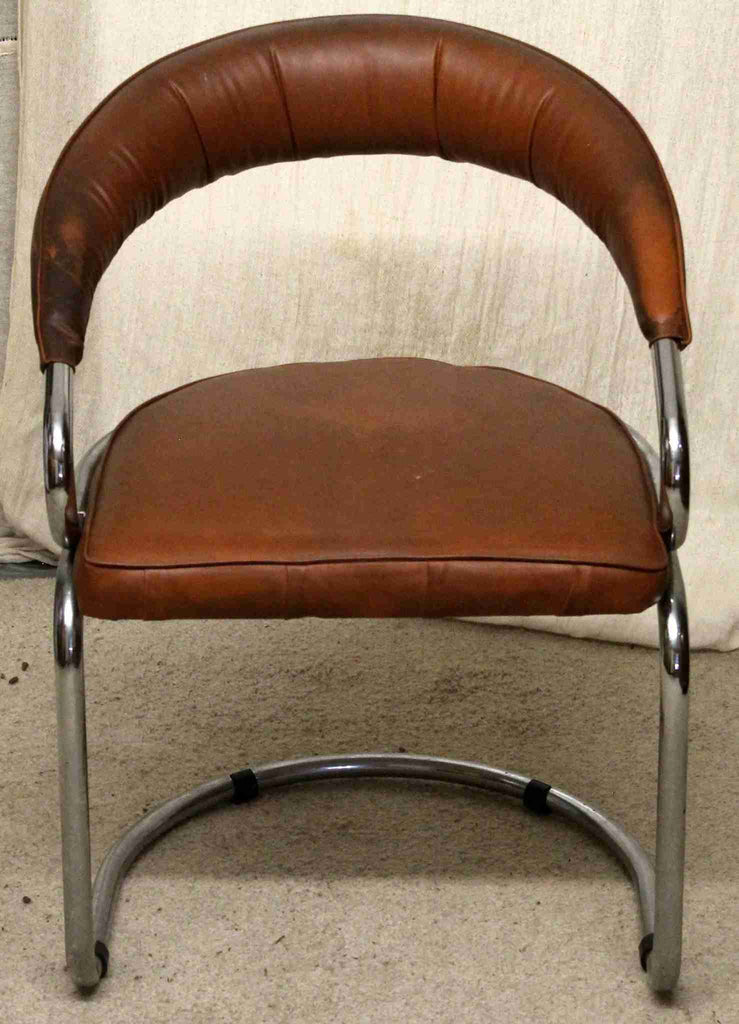 Brown Leather & Chrome Frame Office Chair-Origin Antiques
