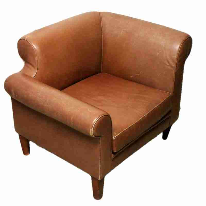 Brown Leather Upholstered Club Armchair-Origin Antiques