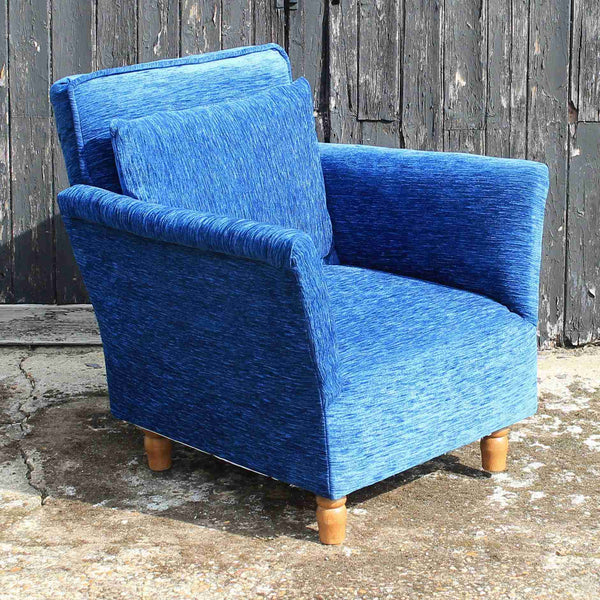 Contemporary Blue Upholstered Armchair-Origin Antiques