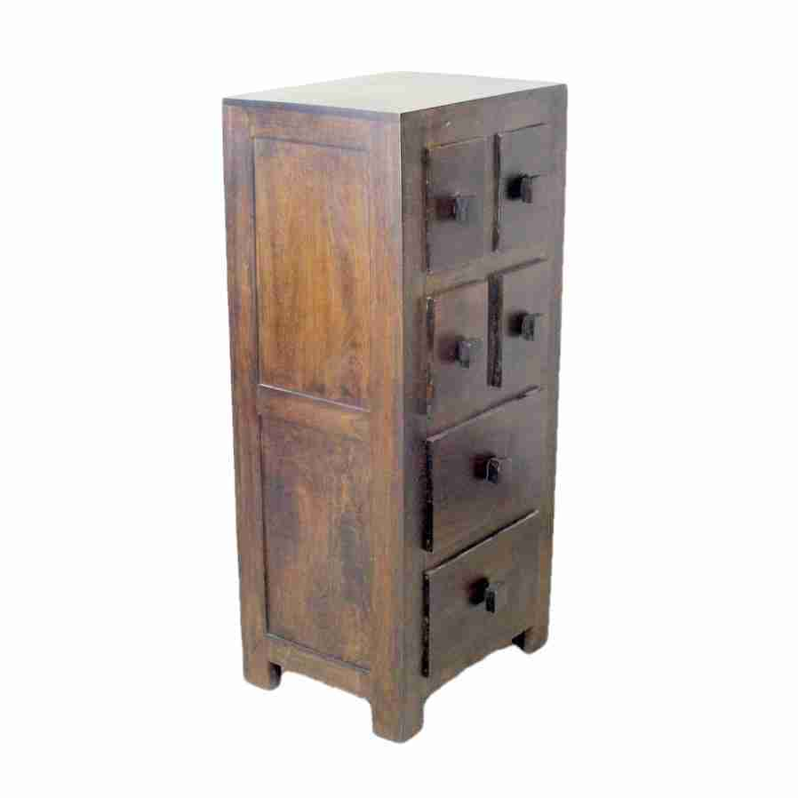 Contemporary Sheesham Dark Wood Tall and Narrow Chest-Origin Antiques