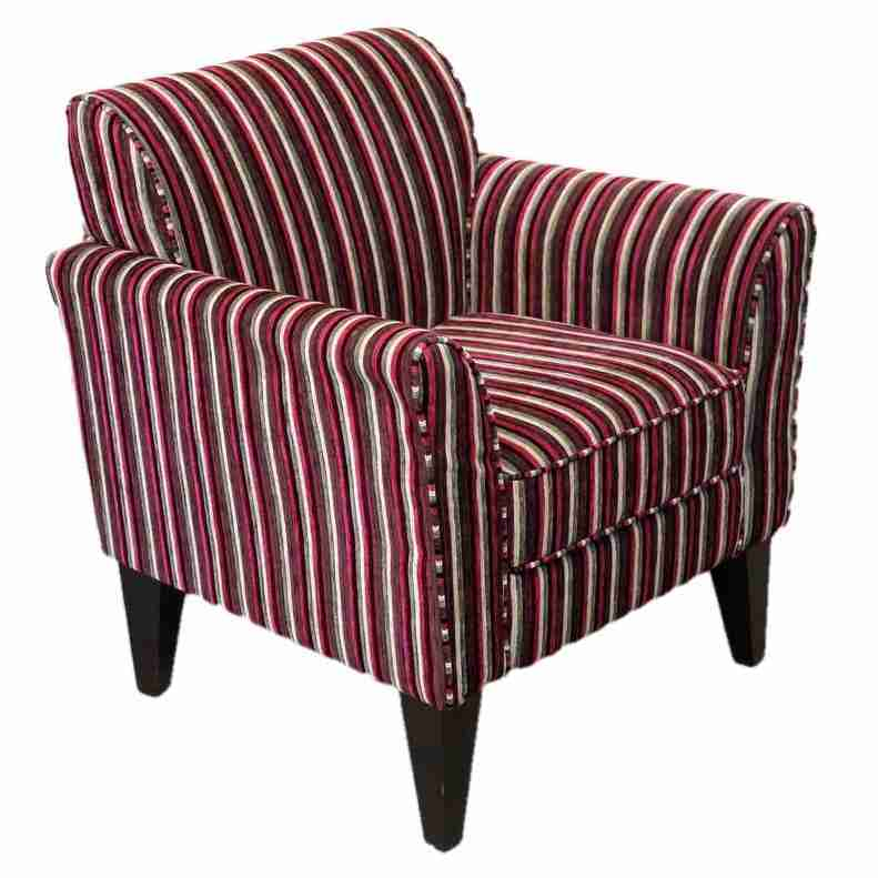 Contemporary Striped Fabric Upholstered Armchair Origin Antiques