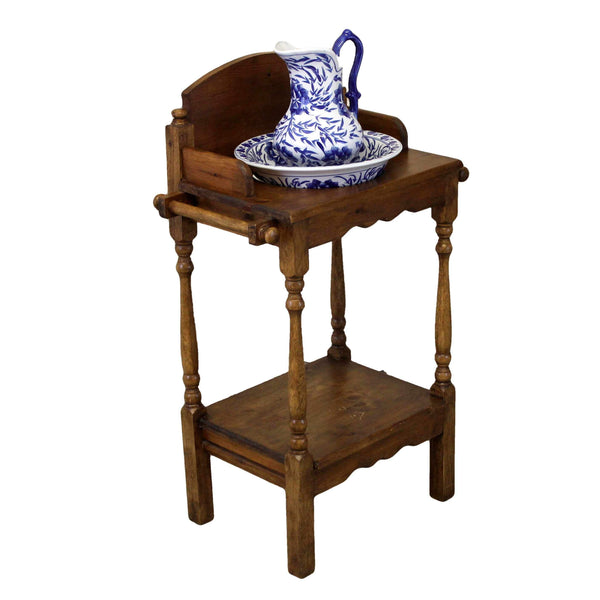 Country Style Pine Wash Stand with Bowl and Jug-Origin Antiques