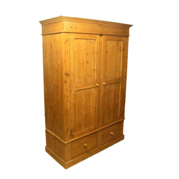 Country Style Rustic Pine Full Hanging Two Door Wardrobe-Origin Antiques