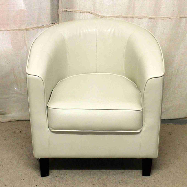 Cream Leather Tub Chair-Origin Antiques