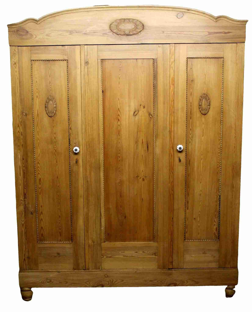 Early 20th Century Pine Bedroom Three Door Wardrobe-Origin Antiques