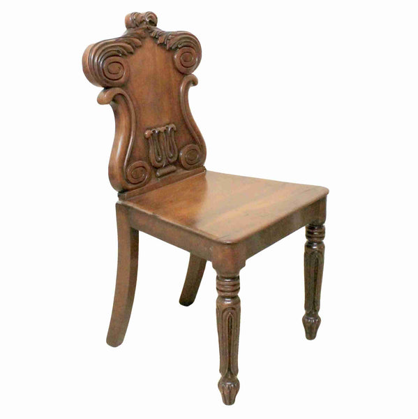 Early Victorian Antique Mahogany Hall Chair-Origin Antiques