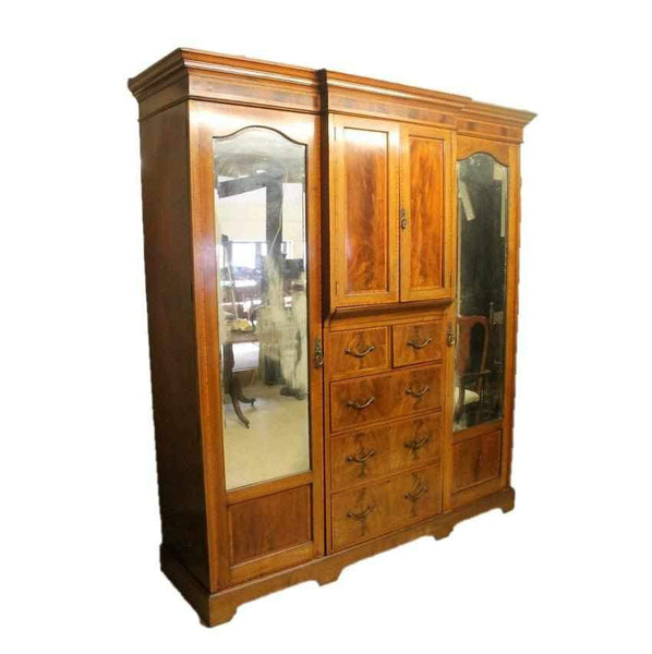 Edwardian Antique Mahogany Breakfront Combination Triple Wardrobe-Origin Antiques