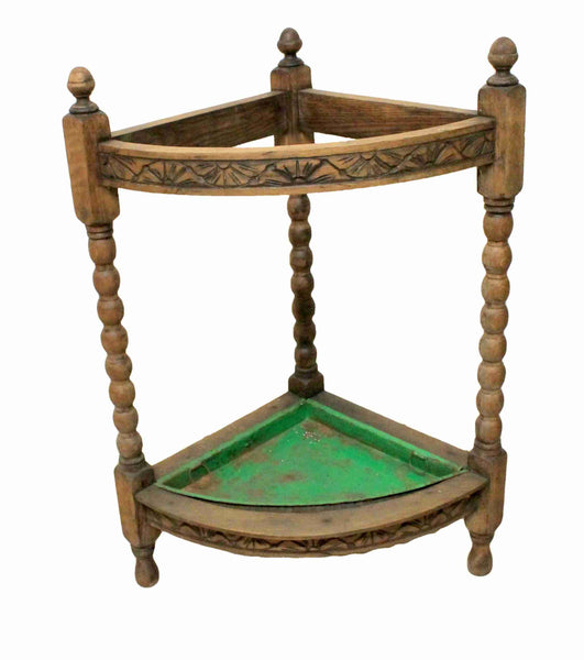 Edwardian Antique Oak Corner Umbrella Stand-Origin Antiques