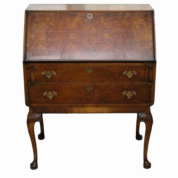 Edwardian Antique Walnut Bureau on Stand-Origin Antiques