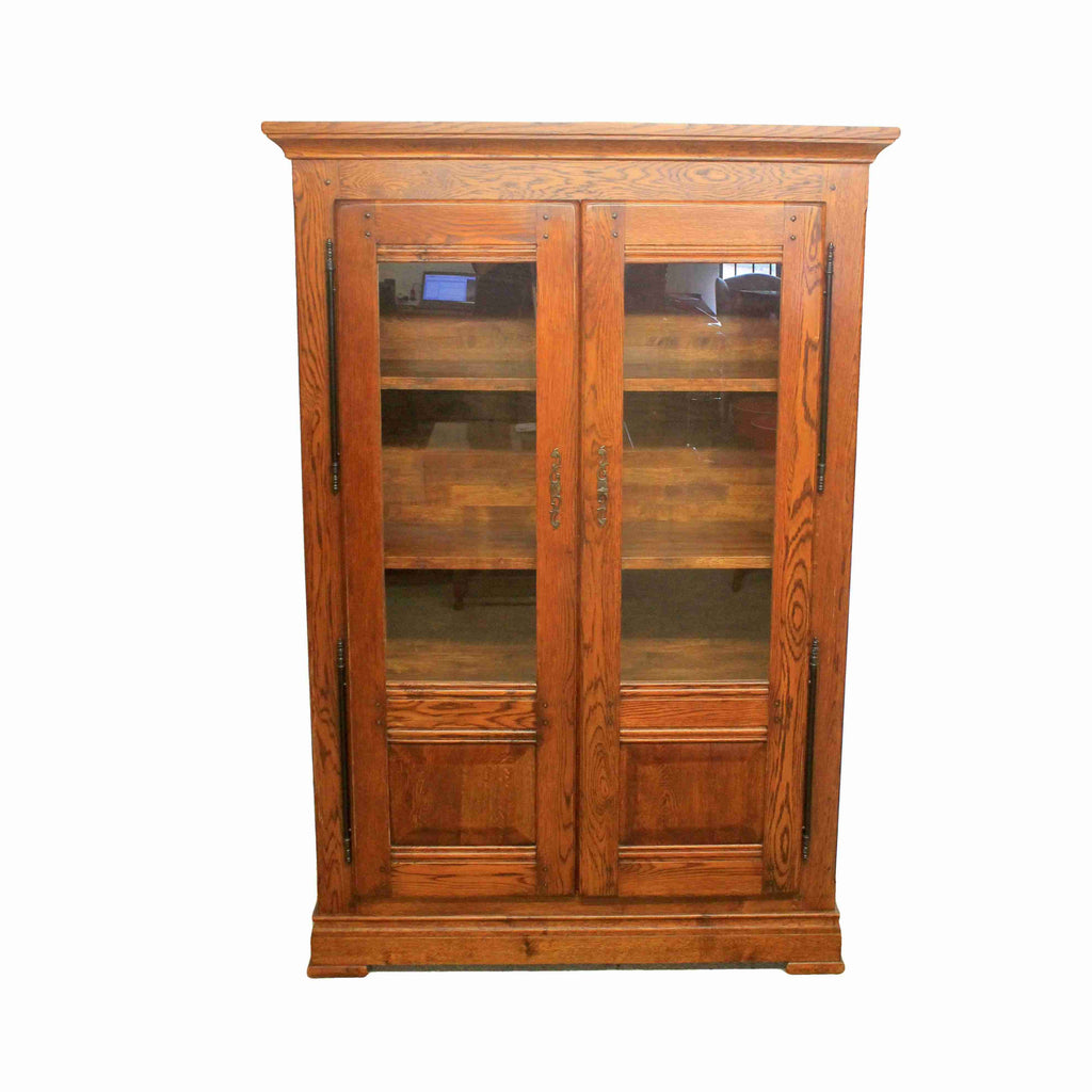 French Oak Glazed Display Cabinet-Origin Antiques