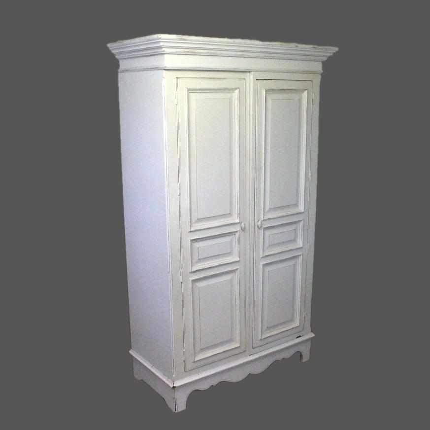 French Shabby Chic White Painted Wardrobe-Origin Antiques