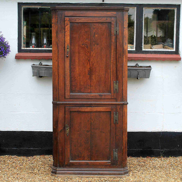 Georgian Antique Elm Corner Cupboard-Origin Antiques