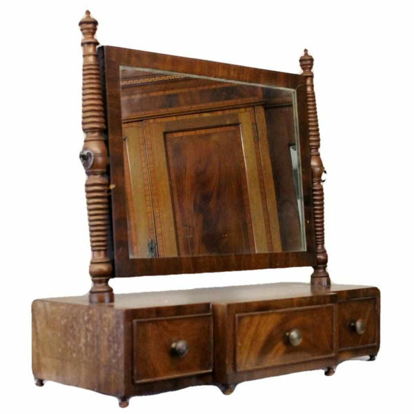 Georgian Antique Mahogany Bedroom Dressing Table Mirror-Origin Antiques