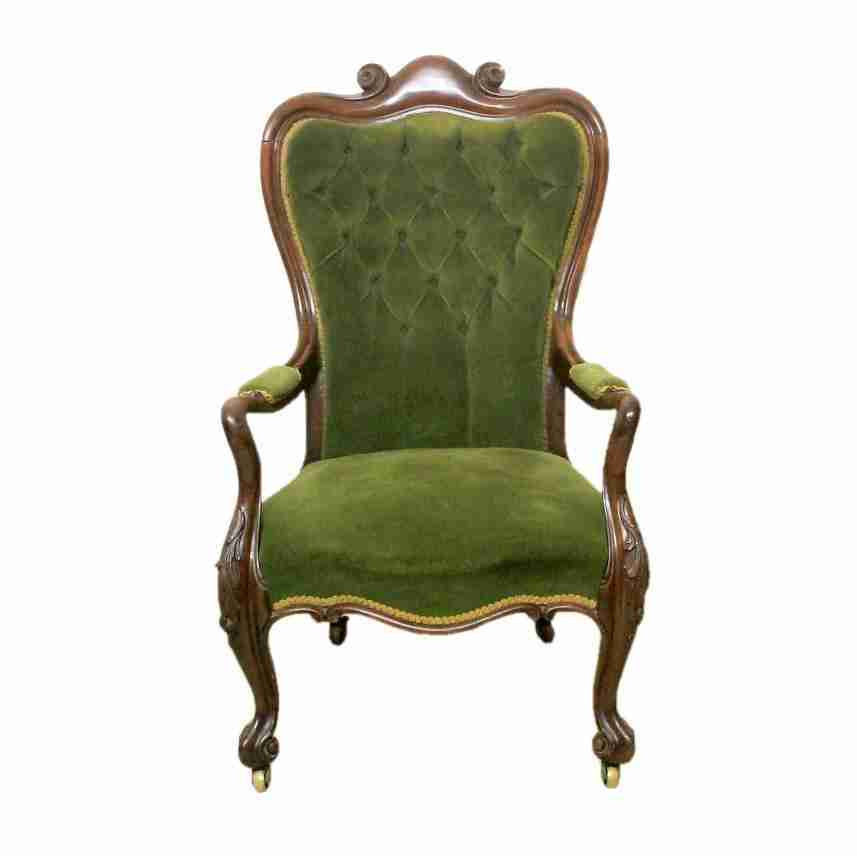 Georgian Antique Mahogany Button Back Upholstered Armchair-Origin Antiques