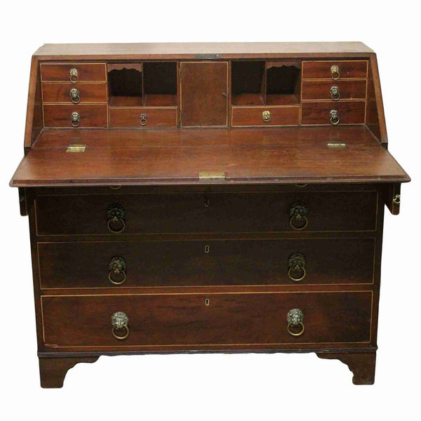 Georgian Antique Mahogany Drop Flap Bureau-Origin Antiques