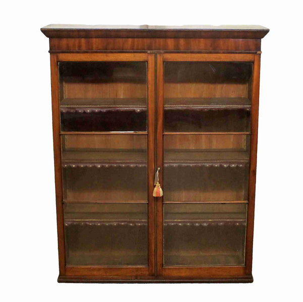 Georgian Antique Mahogany Glazed Bookcase-Origin Antiques
