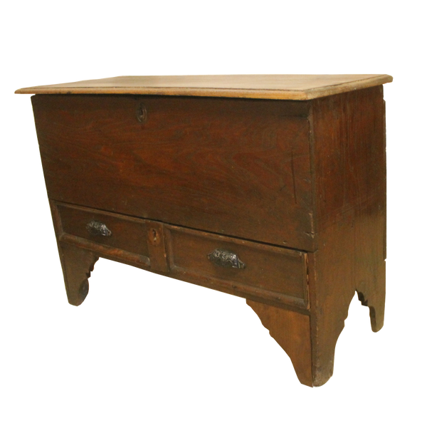 Georgian Antique Oak Coffer Blanket Box with Drawer-Origin Antiques