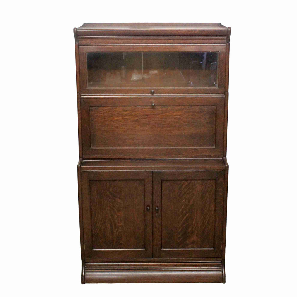 Globe Wernicke Oak Bureau Bookcase-Origin Antiques