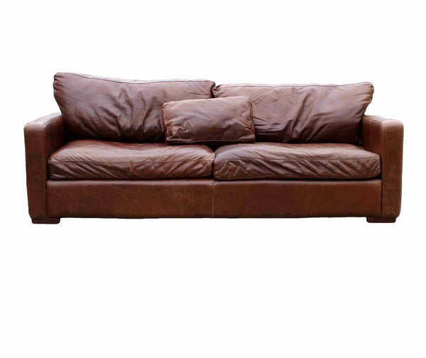 'Halo Living' Contemporary Three Seater Brown Leather Sofa-Origin Antiques