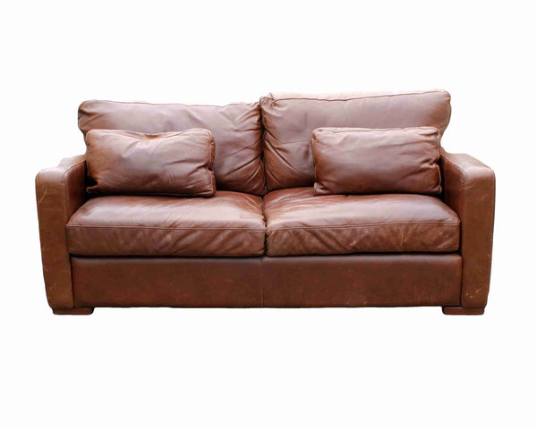 'Halo Living' Contemporary Two Seater Brown Leather Sofa-Origin Antiques