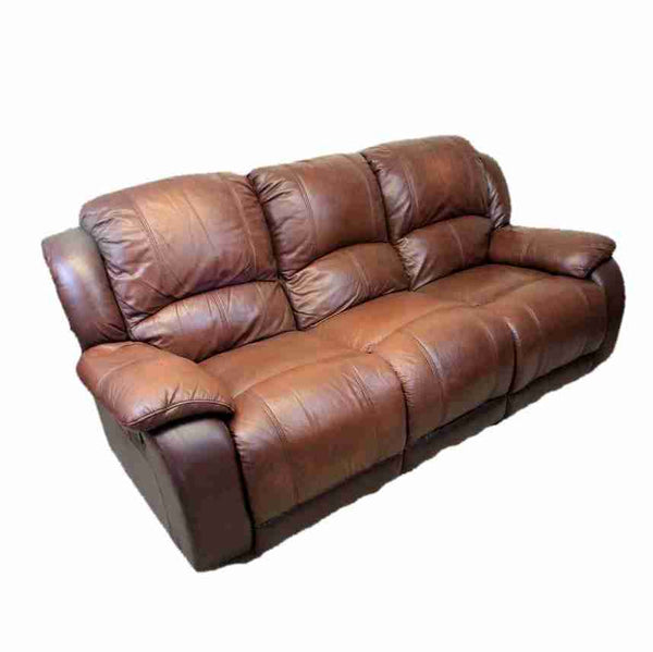 'Harveys' Contemporary Brown Leather Three Seater Reclining Sofa-Origin Antiques