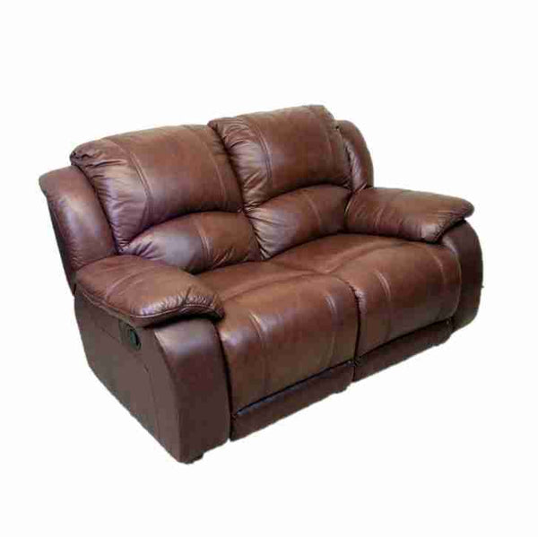 'Harveys' Contemporary Brown Leather Two Seater Reclining Sofa-Origin Antiques