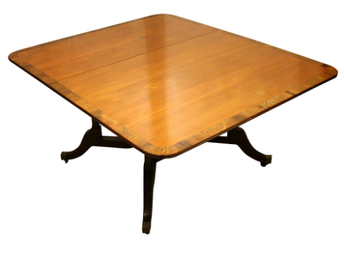 Large Mahogany Drop Flap Dining Table on Brass Castors-Origin Antiques