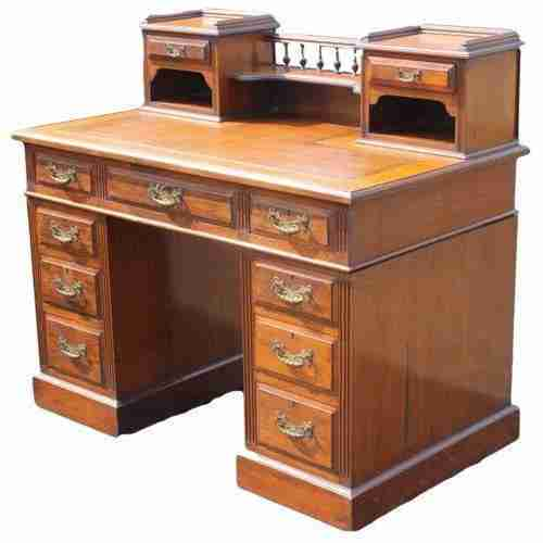 Maples & Co. Victorian Antique Mahogany Twin Pedestal Desk-Origin Antiques