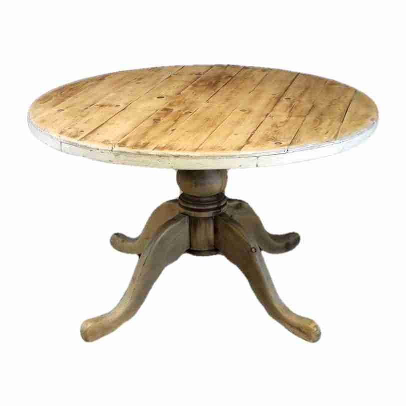 Mexican Pine Rustic Country Style Round Kitchen Dining Table-Origin Antiques
