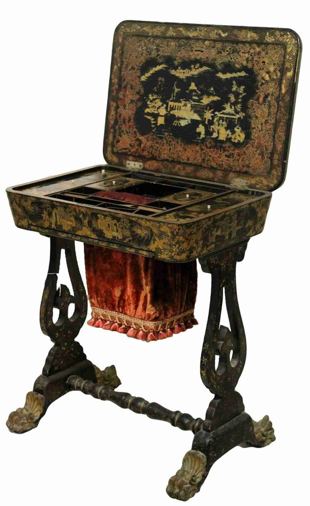 Mid-Victorian Japanned Work Table Sewing Box-Origin Antiques