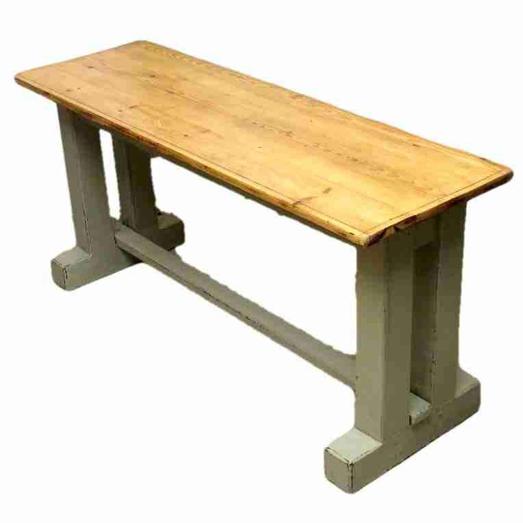 Narrow Country Style Rustic Pine Dining Table With Painted Base Origin  Antiques