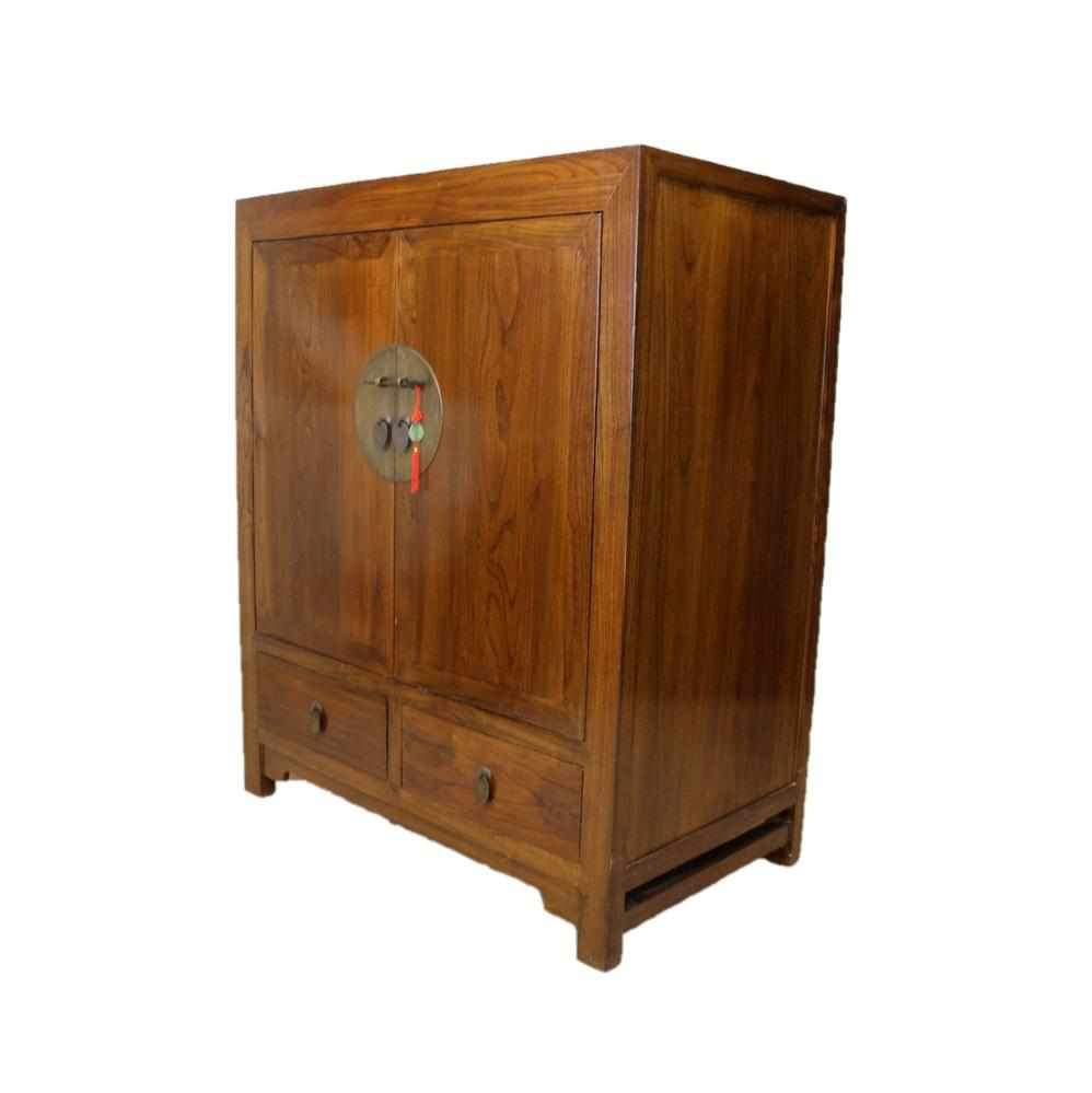 Oriental Chinese Style Hardwood Two Door Cabinet-Origin Antiques