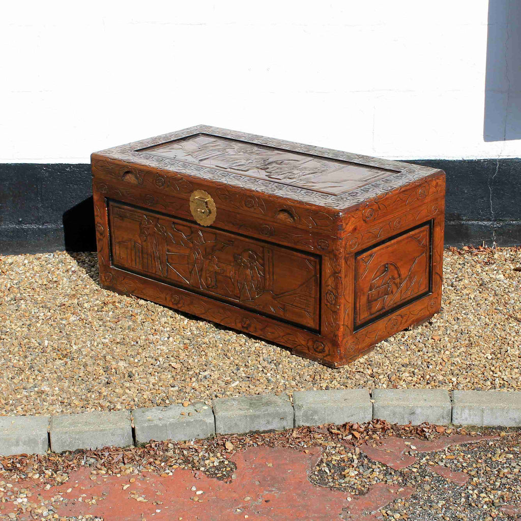 Oriental Style Carved Blanket Box-Origin Antiques