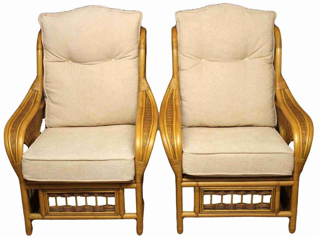 Pair of Bamboo Frame Armchairs and Matching Side Table-Origin Antiques