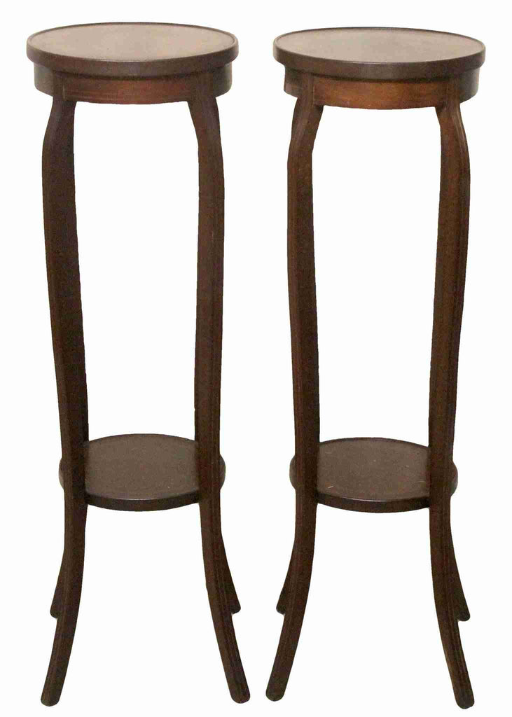 Pair of Edwardian Antique Mahogany Circular Tall Plant Stands-Origin Antiques
