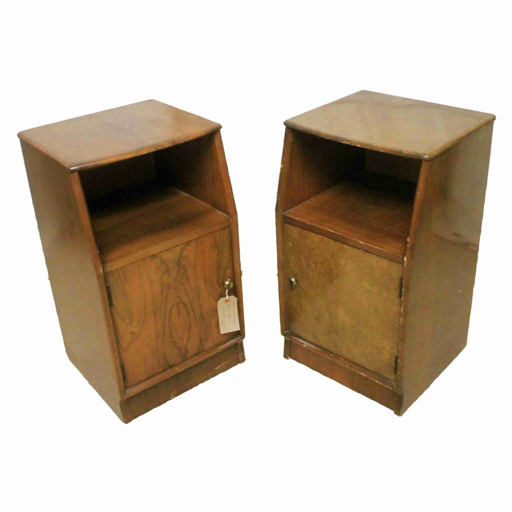 Pair of Mid-Century Walnut Bedside Cabinets-Origin Antiques