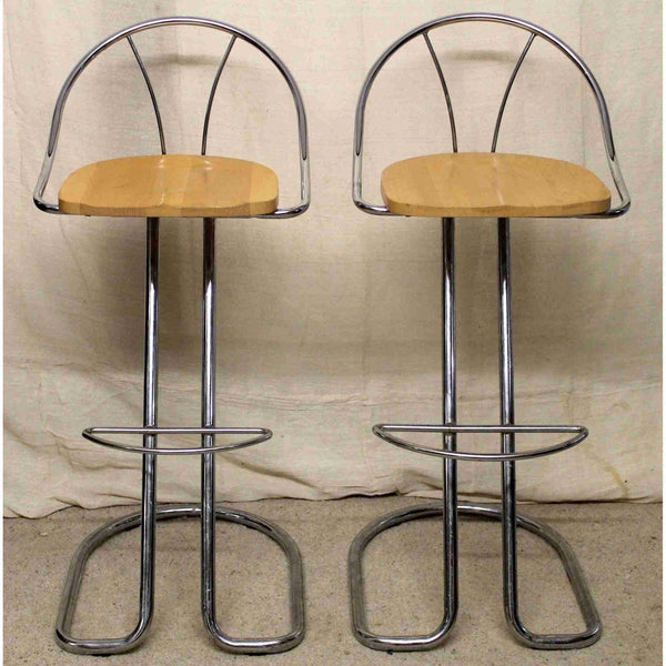 Pair of Modern Chrome Bar Stools-Origin Antiques