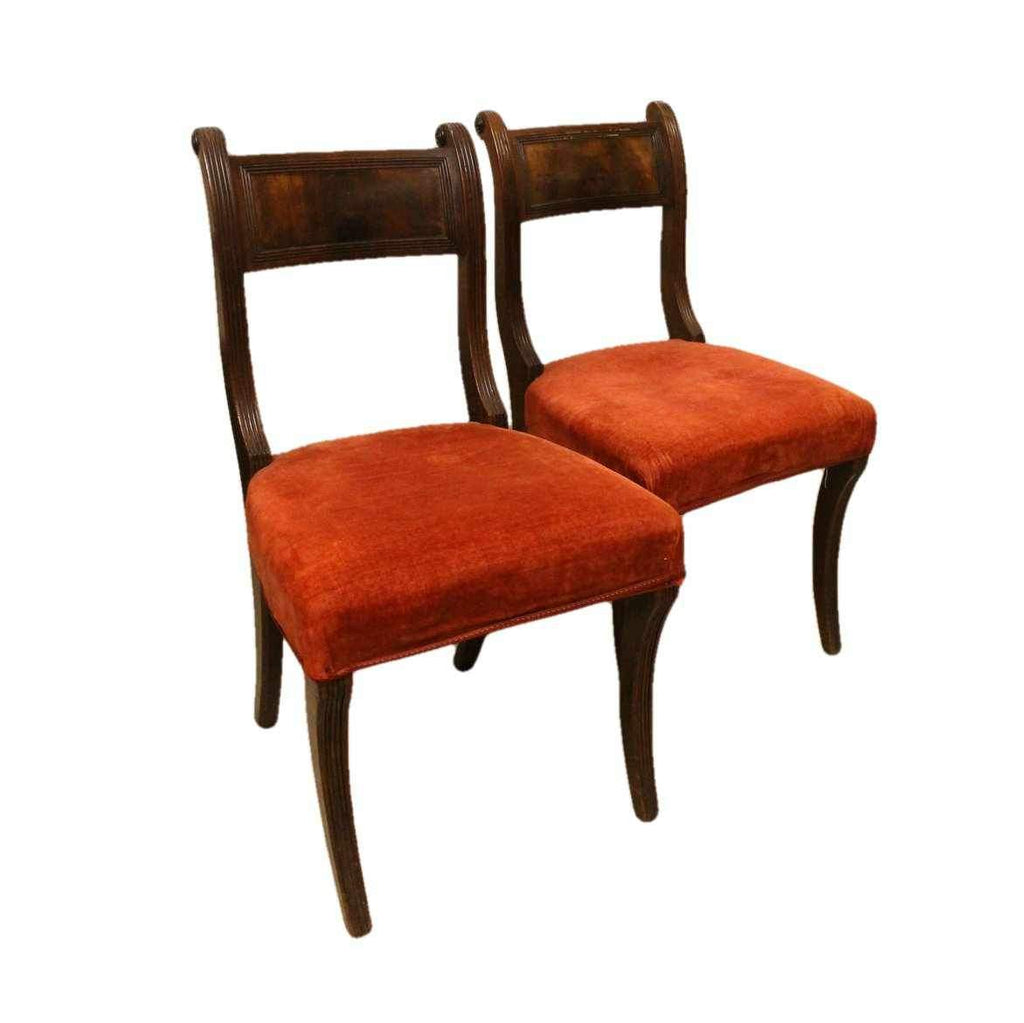 Pair of Regency Antique Mahogany Bar Back Dining Chairs-Origin Antiques