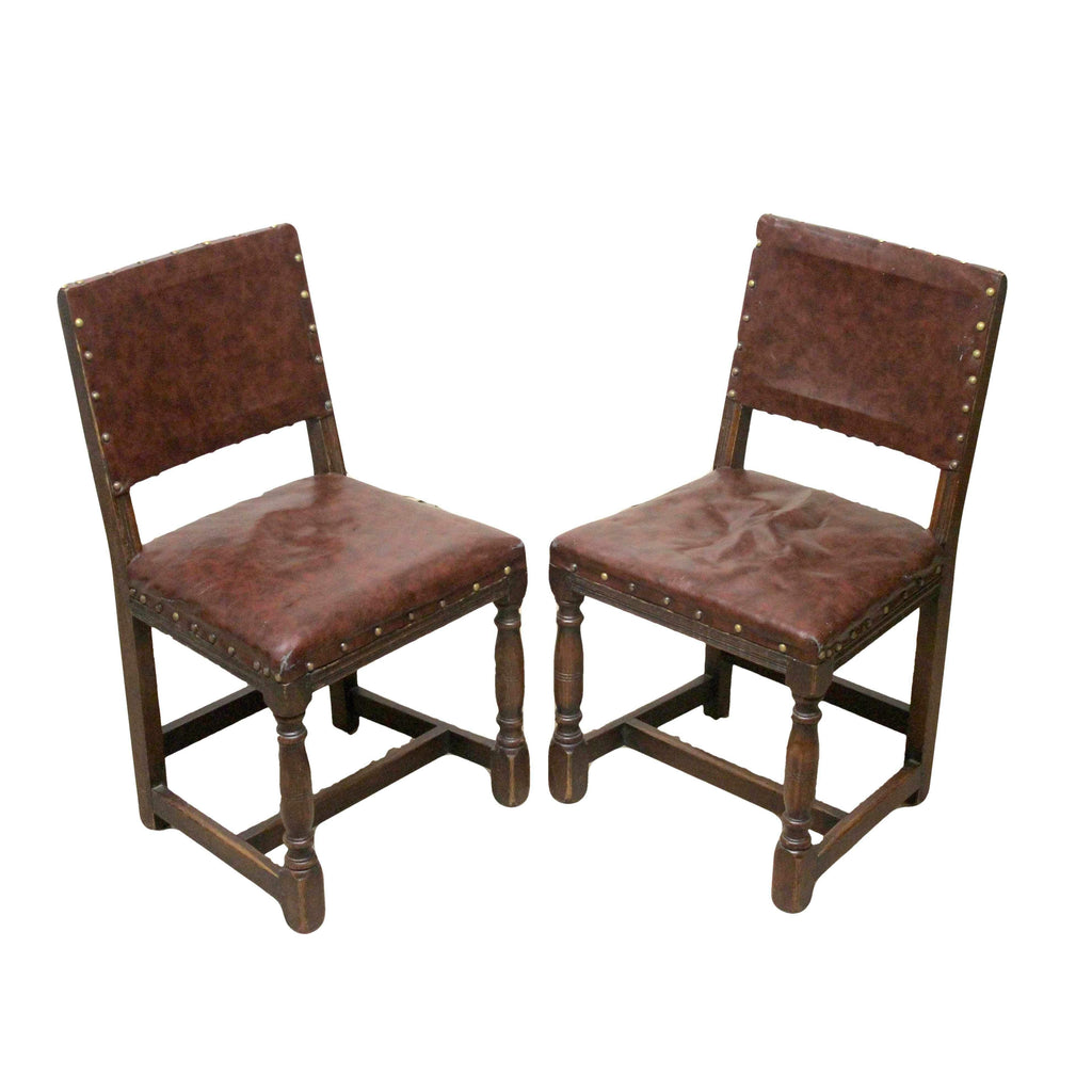 Pair of Retro Vintage Antique Oak Dining Chairs Upholstered in Real Leather-Origin Antiques