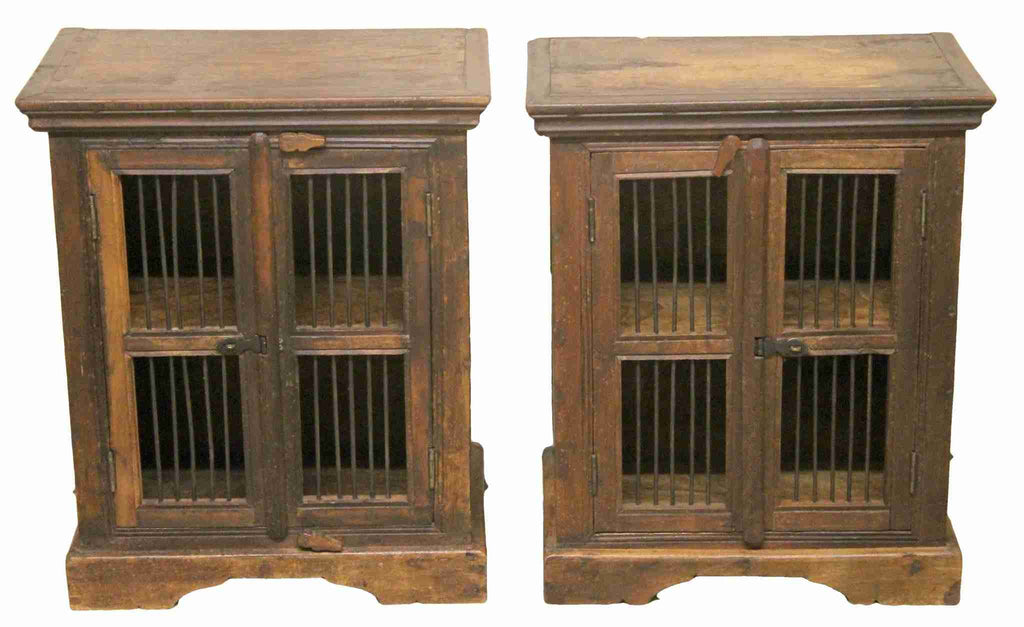 Pair of Rustic Country Style Two Door Cabinets-Origin Antiques