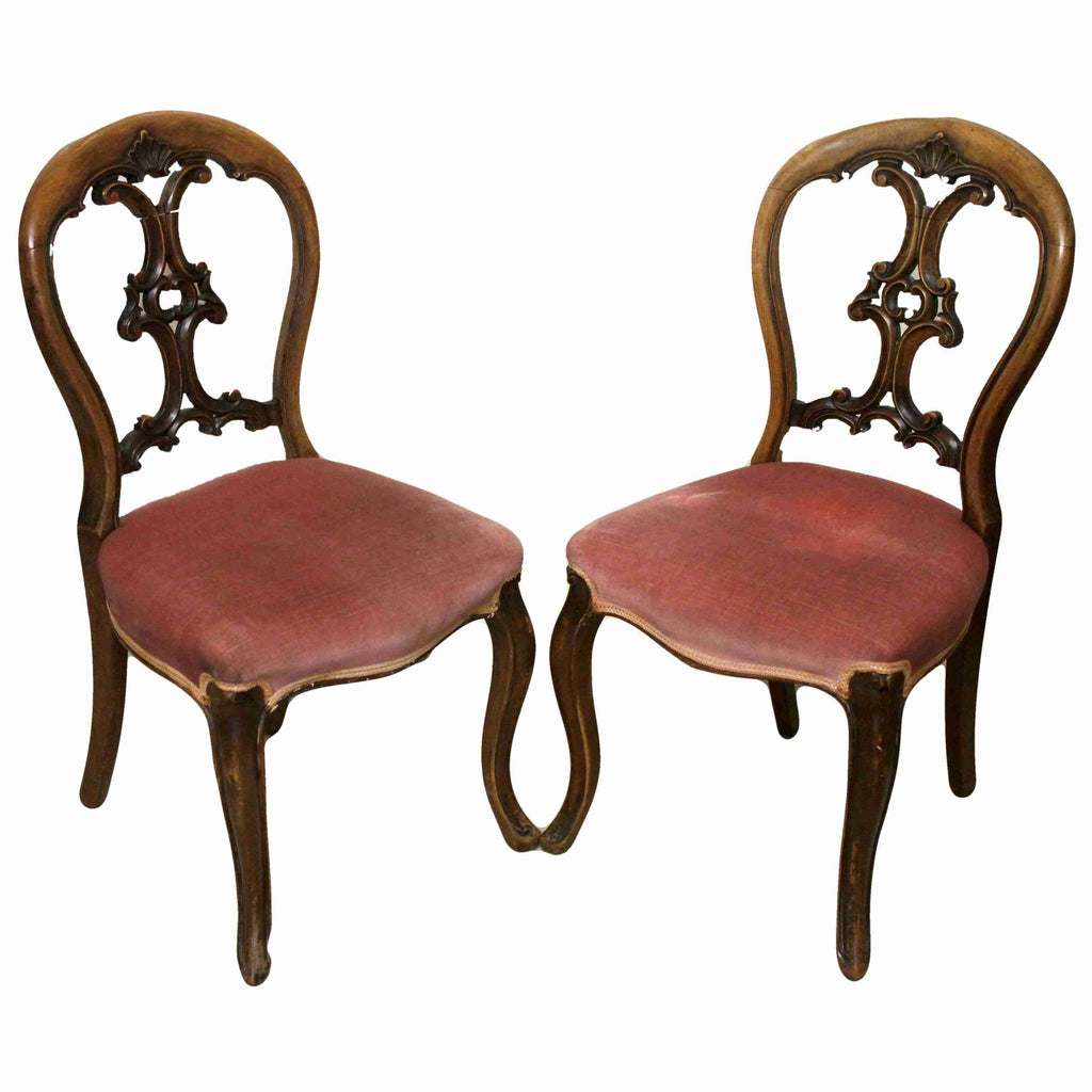 Pair of Victorian Antique Balloon Back Chairs-Origin Antiques