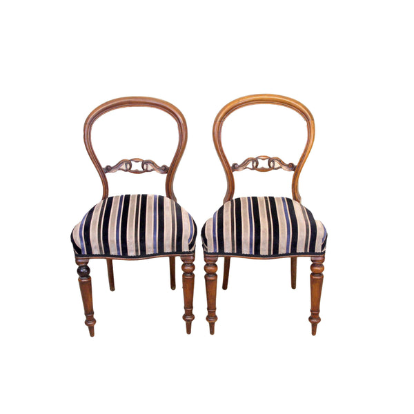 Pair of Victorian Antique Mahogany Balloon Back Occasional Chairs-Origin Antiques