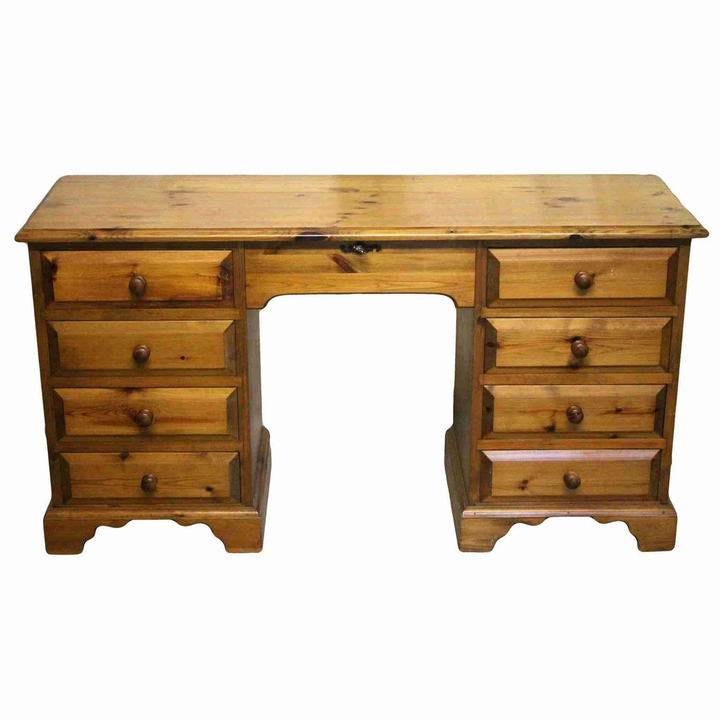 Pine Twin Pedestal Dressing Table-Origin Antiques