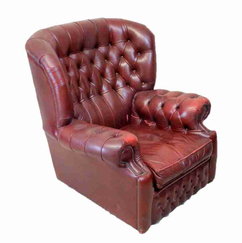 Red Leather Chesterfield Style Armchair Origin Antiques