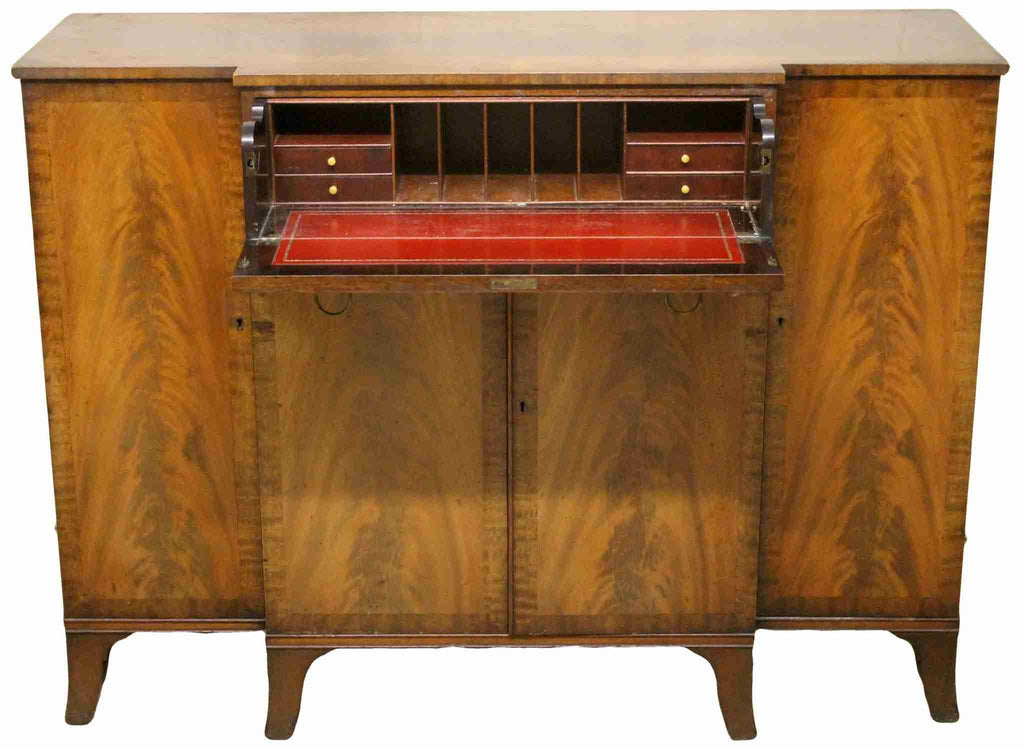 Reproduction Antique Flame Mahogany Breakfront Secretaire-Origin Antiques