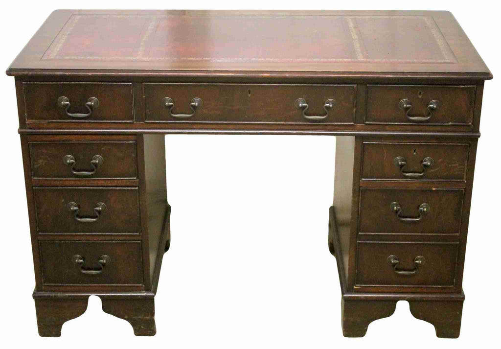 Reproduction Twin Pedestal Mahogany Writing Desk-Origin Antiques