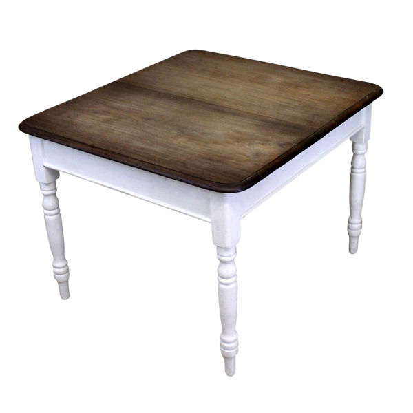 Rustic Country Style Farmhouse Kitchen Dining Table on White Painted Base-Origin Antiques