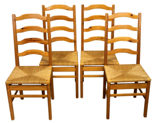 Set of Four Country Style Rush Seat Dining Chairs-Origin Antiques